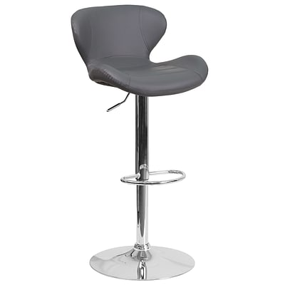 Contemporary Gray Vinyl Adjustable Height Barstool with Chrome Base [CH-321-GY-GG]