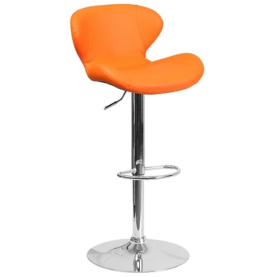 Contemporary Orange Vinyl Adjustable Height Barstool with Chrome Base [CH-321-ORG-GG]