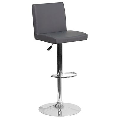 Contemporary Gray Vinyl Adjustable Height Barstool with Chrome Base [CH-92066-GY-GG]