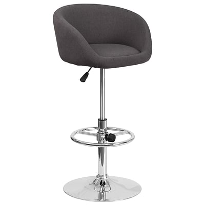 Contemporary Black Fabric Adjustable Height Barstool with Chrome Base [CH-TC3-1066L-BKFAB-GG]