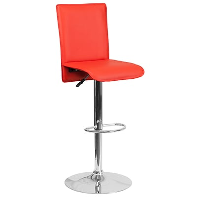 Contemporary Red Vinyl Adjustable Height Barstool with Chrome Base [CH-TC3-1206-RED-GG]