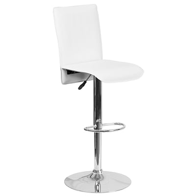 Contemporary White Vinyl Adjustable Height Barstool with Chrome Base [CH-TC3-1206-WH-GG]