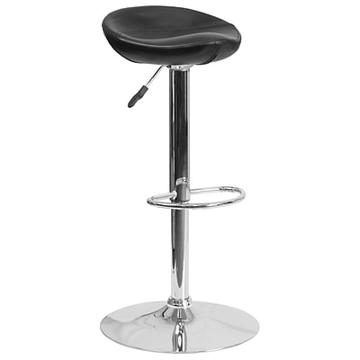 Contemporary Black Vinyl Adjustable Height Barstool with Chrome Base [DS-8001-BK-GG]