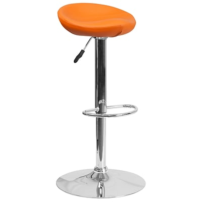 Contemporary Orange Vinyl Adjustable Height Barstool with Chrome Base [DS-8001-OR-GG]