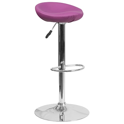 Contemporary Purple Vinyl Adjustable Height Barstool with Chrome Base (DS-8001-PUR-GG)