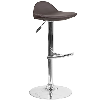 Contemporary Brown Vinyl Adjustable Height Barstool with Chrome Base [DS-8002-BRN-GG]