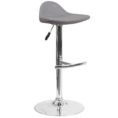 Contemporary Gray Vinyl Adjustable Height Barstool with Chrome Base [DS-8002-GY-GG]