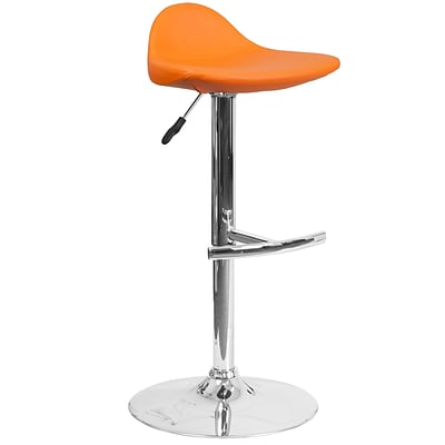 Contemporary Orange Vinyl Adjustable Height Barstool with Chrome Base [DS-8002-OR-GG]