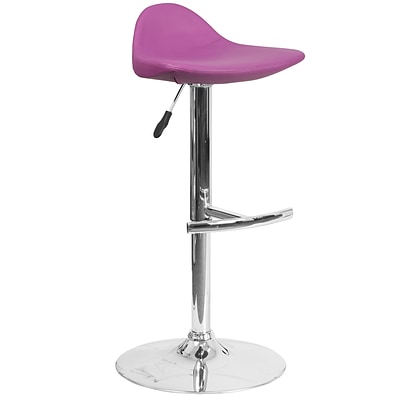 Contemporary Purple Vinyl Adjustable Height Barstool with Chrome Base [DS-8002-PUR-GG]