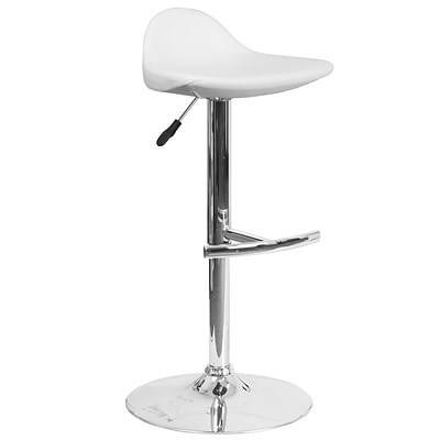 Contemporary White Vinyl Adjustable Height Barstool with Chrome Base [DS-8002-WH-GG]