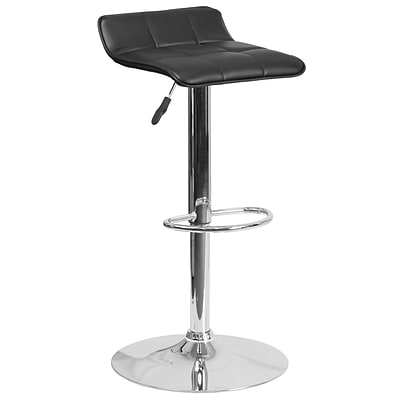 Contemporary Black Vinyl Adjustable Height Barstool with Chrome Base [DS-801B-BK-GG]