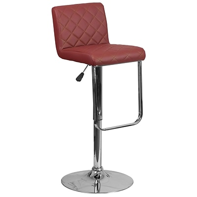 Contemporary Burgundy Vinyl Adjustable Height Barstool with Chrome Base [DS-8101-BG-GG]