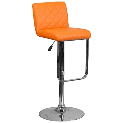 Contemporary Orange Vinyl Adjustable Height Barstool with Chrome Base [DS-8101-OR-GG]