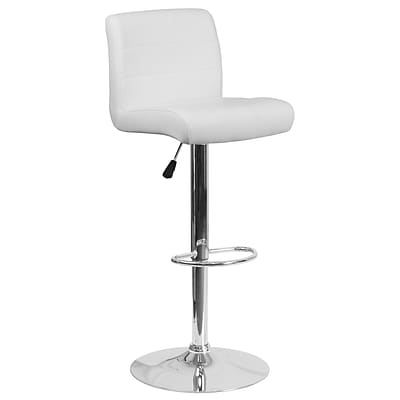Contemporary White Vinyl Adjustable Height Barstool with Chrome Base [DS-8101B-WH-GG]