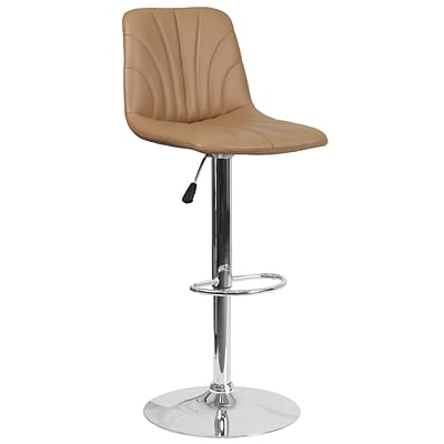 Contemporary Cappuccino Vinyl Adjustable Height Barstool with Chrome Base [DS-8220-CAP-GG]