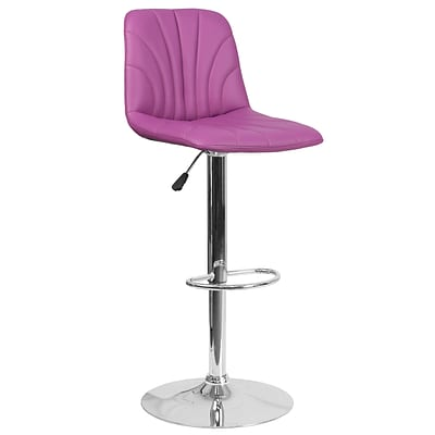 Contemporary Purple Vinyl Adjustable Height Barstool with Chrome Base [DS-8220-PUR-GG]
