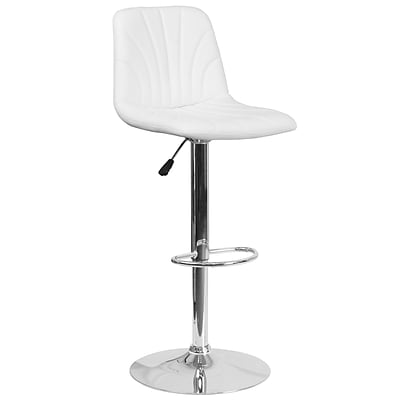 Contemporary White Vinyl Adjustable Height Barstool with Chrome Base (DS-8220-WH-GG)