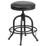 24 Counter Height Stool with Swivel Lift Black Leather Seat [ET-BR542-224-GG]