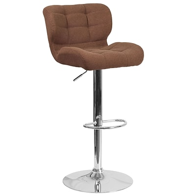 Contemporary Tufted Brown Fabric Adjustable Height Barstool with Chrome Base [SD-SDR-2510-BRN-FAB-GG]