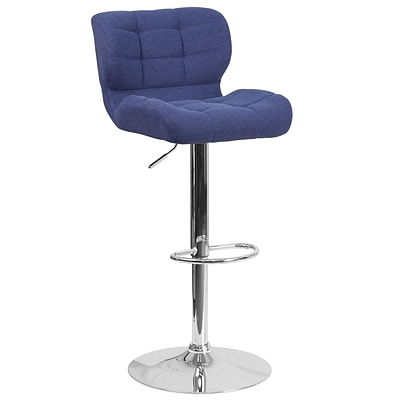 Contemporary Tufted Blue Fabric Adjustable Height Barstool with Chrome Base [SD-SDR-2510-BL-FAB-GG]