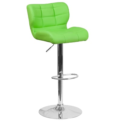 Contemporary Tufted Green Vinyl Adjustable Height Barstool with Chrome Base [SD-SDR-2510-GN-GG]