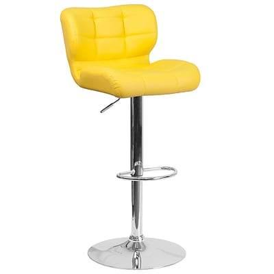 Contemporary Tufted Yellow Vinyl Adjustable Height Barstool with Chrome Base [SD-SDR-2510-YEL-GG]