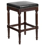 30 High Backless Cappuccino Wood Barstool with Black Leather Seat [TA-4102A-30-CA-GG]