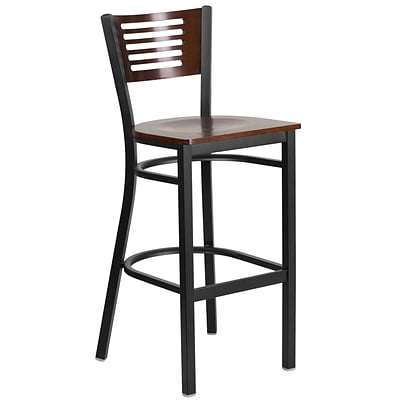 HERCULES Series Black Decorative Slat Back Metal Restaurant Barstool - Walnut Wood Back & Seat [XU-DG-6H1B-WAL-BAR-MTL-GG]