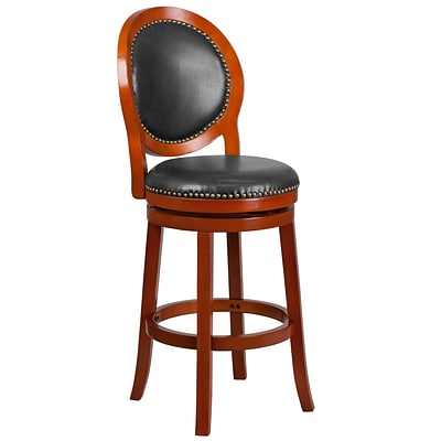 30 High Light Cherry Wood Barstool with Walnut Leather Swivel Seat [TA-550130-LC-GG]