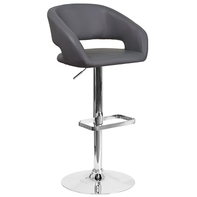 Contemporary Gray Vinyl Adjustable Height Barstool with Chrome Base [CH-122070-GY-GG]