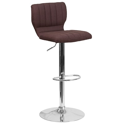 Contemporary Brown Fabric Adjustable Height Barstool with Chrome Base [CH-132330-BRNFAB-GG]