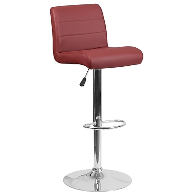 Contemporary Burgundy Vinyl Adjustable Height Barstool with Chrome Base [DS-8101B-BG-GG]