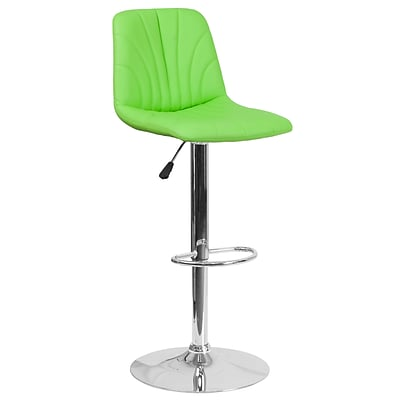 Contemporary Green Vinyl Adjustable Height Barstool with Chrome Base (DS-8220-GN-GG)
