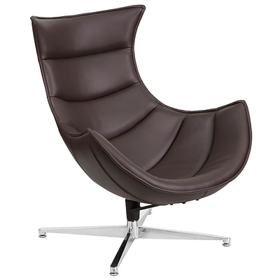 Brown Leather Swivel Cocoon Chair [ZB-33-GG]