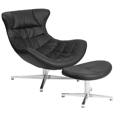 Black Leather Cocoon Chair with Ottoman [ZB-40-COCOON-GG]