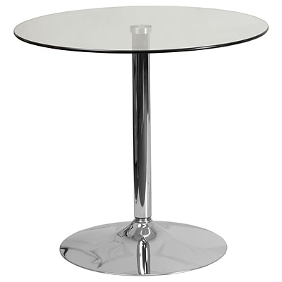 31.5 Round Glass Table with 29H Chrome Base (CH-7-GG)