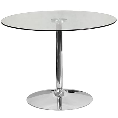 39.25 Round Glass Table with 29H Chrome Base [CH-8-GG]