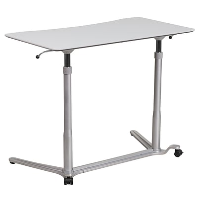 Flash Furniture 37W Sit-Down-Stand-Up Computer Desk, Light Gray (NANIP61)