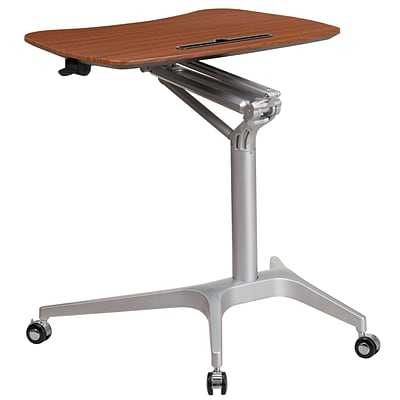 Mobile Sit-Down, Stand-Up Mahogany Computer Desk with 28.25W Top (Adjustable Range 29 - 41) [NAN-IP-10-GG]