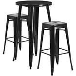 24 Round Black Metal Indoor-Outdoor Bar Table Set with 2 Square Seat Backless Barstools [CH-51080B