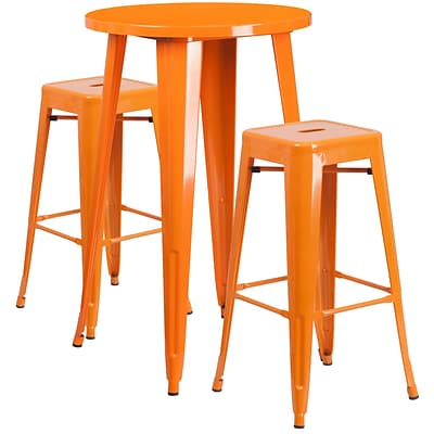 24 Round Orange Metal Indoor-Outdoor Bar Table Set with 2 Square Seat Backless Barstools [CH-51080BH-2-30SQST-OR-GG]