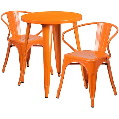 24 Round Orange Metal Indoor-Outdoor Table Set with 2 Arm Chairs [CH-51080TH-2-18ARM-OR-GG]