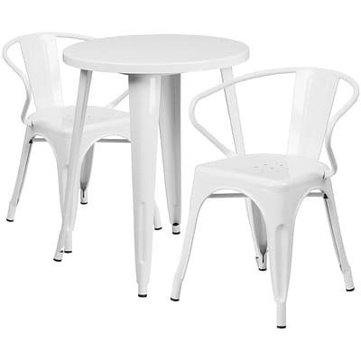 24 Round White Metal Indoor-Outdoor Table Set with 2 Arm Chairs [CH-51080TH-2-18ARM-WH-GG]