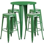 30 Round Green Metal Indoor-Outdoor Bar Table Set with 4 Square Seat Backless Barstools [CH-51090B