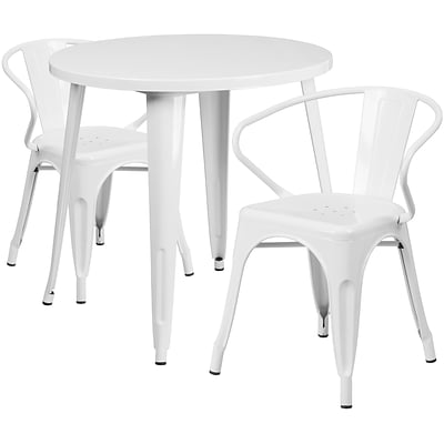 30 Round White Metal Indoor-Outdoor Table Set with 2 Arm Chairs (CH-51090TH-2-18ARM-WH-GG)