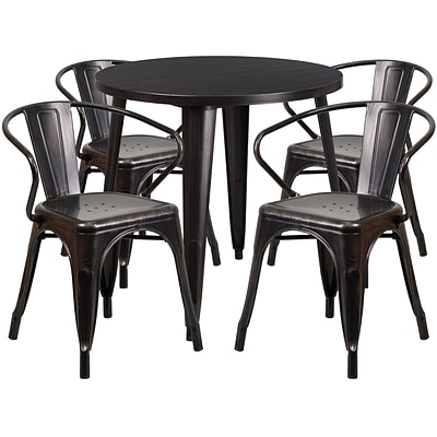 30 Round Black-Antique Gold Metal Indoor-Outdoor Table Set with 4 Arm Chairs (CH-51090TH-4-18ARM-BQ-GG)
