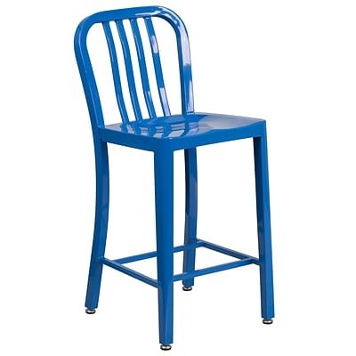 24 High Blue Metal Indoor-Outdoor Counter Height Stool with Vertical Slat Back [CH-61200-24-BL-GG]