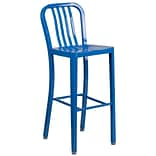 30 High Blue Metal Indoor-Outdoor Barstool with Vertical Slat Back [CH-61200-30-BL-GG]