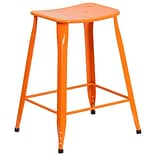 24 High Orange Metal Indoor-Outdoor Counter Height Stool (ET-3604-24-OR-GG)