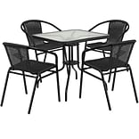 28 Square Glass Metal Table with Black Rattan Edging and 4 Black Rattan Stack Chairs [TLH-073SQ-03